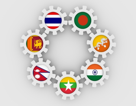 global rates: Bay of Bengal Initiative for Multi-Sectoral Technical and Economic Cooperation association of six national economies members flags on cog wheels. Global teamwork. White background Stock Photo