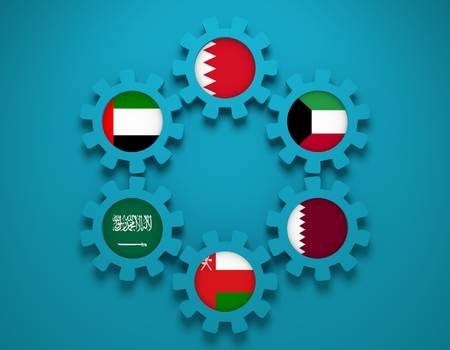 global rates: Cooperation Council for the Arab States of the Gulf. Politic and economic union members flags on cog wheels. Global teamwork. Blue background