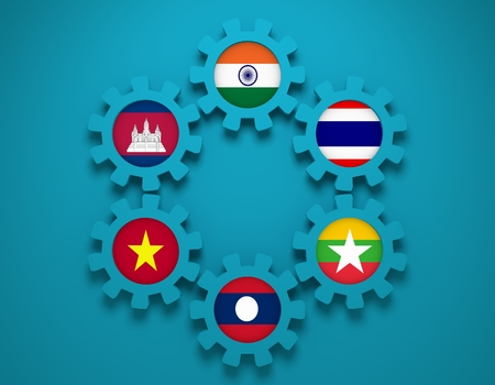 Mekong Ganga cooperation. Politic and economic union members flags on cog wheels. Global teamwork. Blue background