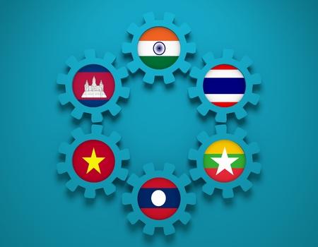 politic: Mekong Ganga cooperation. Politic and economic union members flags on cog wheels. Global teamwork. Blue background