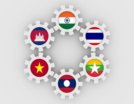 Cooperación Mekong Ganga. Banderas de miembros de la unión política y económica en ruedas dentadas. Trabajo en equipo global. Fondo blanco