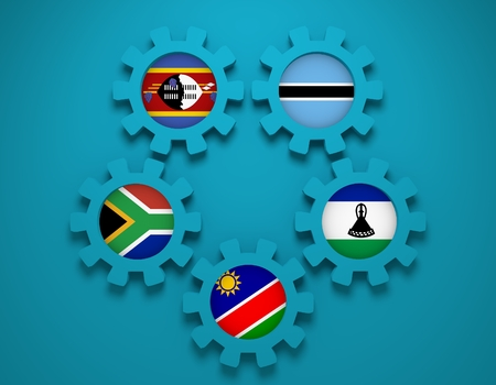 lesotho: Southern African Customs Union - association of five national economies members flags on gear. Global teamwork. Blue background
