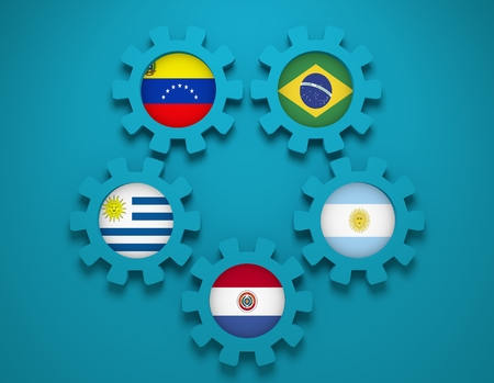 common market: Southern Common Market association of five South America national economies. Politic and economic union members flags on cog wheels. Global teamwork. Blue background Stock Photo