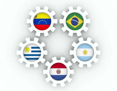 common market: Southern Common Market association of five South America national economies. Politic and economic union members flags on cog wheels. Global teamwork. White background