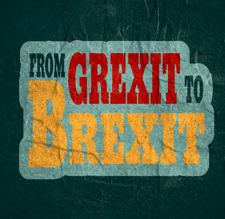 area of conflict: United Kingdom exit from europe relative image. Brexit named politic process. Referendum theme. From Grexit to Brexit text. Concrete textured