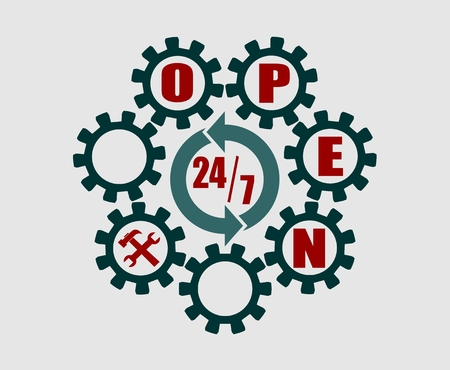 Time operation mode in gear. Open text and service icon. For customer support and retail. Seven days twenty four hour