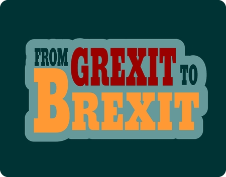 peace treaty: United Kingdom exit from europe relative image. Brexit named politic process. Referendum theme. From Grexit to Brexit text Illustration