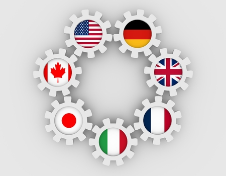 governmental: G7 association of seven national economies members flags on cog wheels. Group of Seven a governmental political forum. 3D rendering Stock Photo