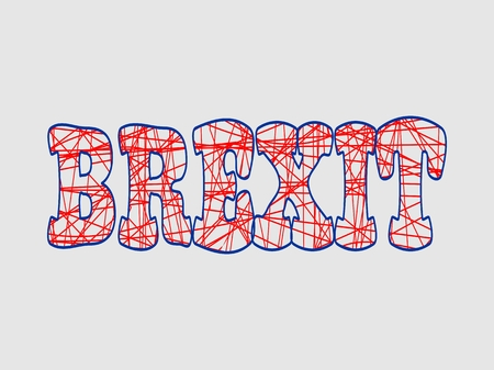 politic: United Kingdom exit from European Union relative image. Brexit named politic process. Referendum theme. Pencil strokes lettering Illustration