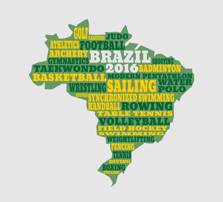 pentathlon: Brazil map with text, various sport competition. Games of 2016 year Illustration