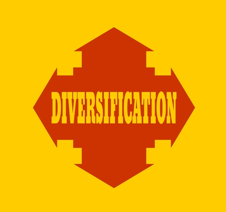 financial diversification: Arrow cross with word diversification. Way choosing metaphor Illustration