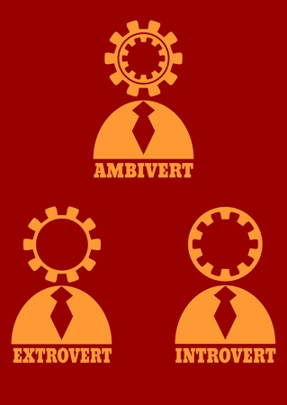 extrovert: Extrovert, introvert and ambivert simple icon metaphor. image relative to human psychology