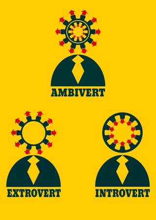 Extrovert, introvert and ambivert simple icon metaphor. image relative to human psychology