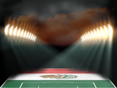 football stadium: Football stadium with Mexico flag textured field. Night scene