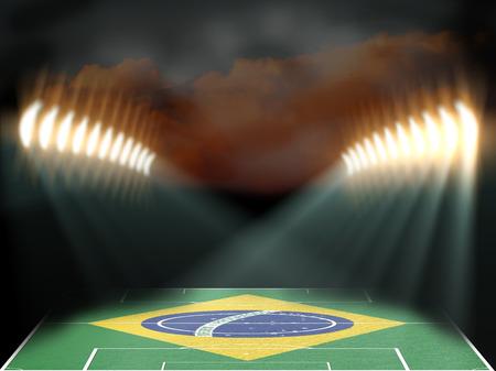 football stadium: Football stadium with Brazil flag textured field. Night scene Stock Photo