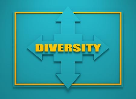 financial diversification: Arrow cross with diversity word. Way choosing metaphor. 3D rendering Stock Photo