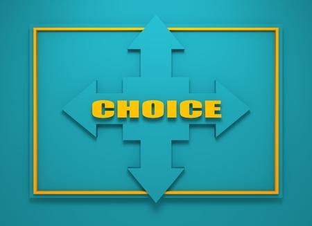 financial diversification: Arrow cross with choice word. Way choosing metaphor. 3D rendering Stock Photo