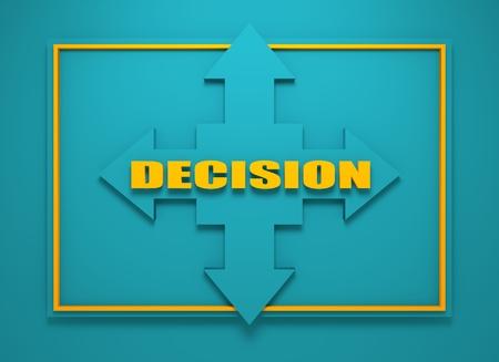 financial diversification: Arrow cross with decision word. Way choosing metaphor. 3D rendering