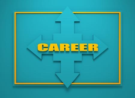 financial diversification: Arrow cross with career word. Way choosing metaphor. 3D rendering
