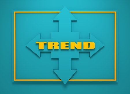 financial diversification: Arrow cross with trend word. Way choosing metaphor. 3D rendering Stock Photo