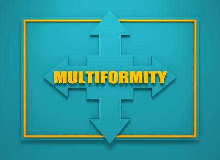 financial diversification: Arrow cross with multiformity word. Way choosing metaphor. 3D rendering