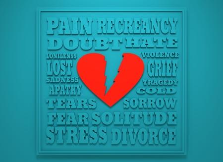heart break: Love relative tags cloud. Heart break reasons. Background relative to valentines day. 3D rendering Stock Photo