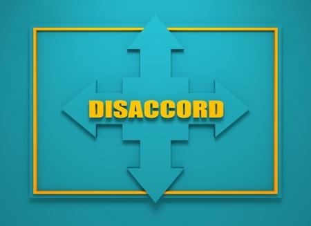 financial diversification: Arrow cross with disaccord word. Way choosing metaphor. 3D rendering Stock Photo