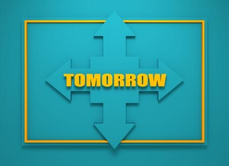 financial diversification: Arrow cross with tomorrow word. Way choosing metaphor. 3D rendering