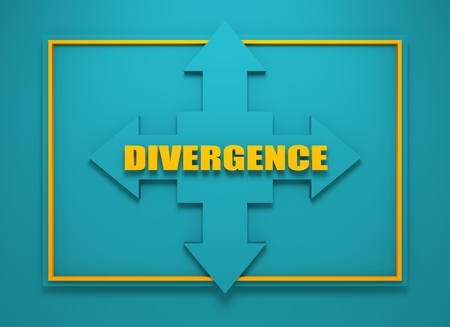 financial diversification: Arrow cross with divergence word. Way choosing metaphor. 3D rendering