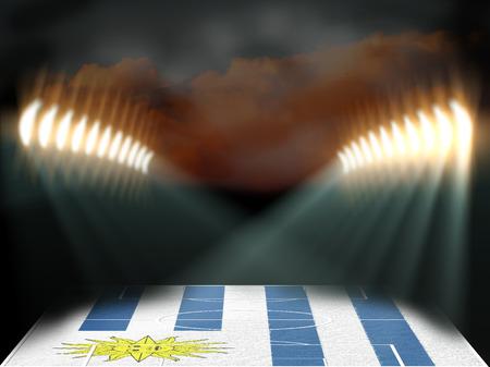 bandera de uruguay: Estadio de fútbol con el campo de textura bandera de Uruguay. Escena nocturna