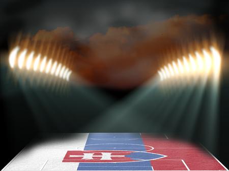 slovakia flag: Football stadium with Slovakia flag textured field. Night scene. 3D rendering