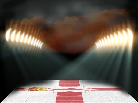 northern ireland: Football stadium with Northern Ireland flag textured field. Night scene. 3D rendering