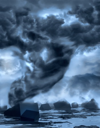 photo manipulation: Dramatic tornado.  Sky with storm clouds. Photo manipulation. 3D rendering