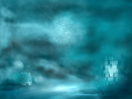 surreal landscape: Simple beautiful surreal landscape with buildings windows light. Alien planet in the sky. 3D rendering Stock Photo
