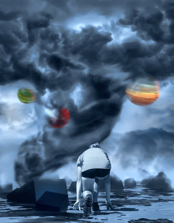 photo manipulation: Dramatic tornado.  Sky with storm clouds. Woman get started. Alien planet in the sky. Photo manipulation. 3D rendering Stock Photo