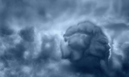 recién llegado extranjero en el cielo pintado en las nubes. antiguo dios del mal resumen en el cielo