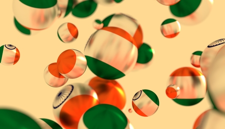 levitation: Large group of  orbs or spheres levitation in empty space. 3D rendering. India flag