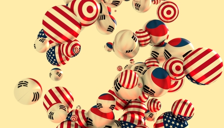 levitation: Large group of  orbs or spheres levitation in empty space. 3D rendering. USA and Korea flags