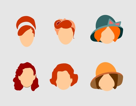 hair style: Vector Collection of the Womans Hair Style Silhouettes. Retro Fashion Illustration