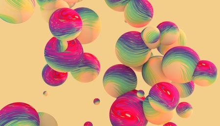 levitation: Large group of  orbs or spheres levitation in empty space. 3D rendering