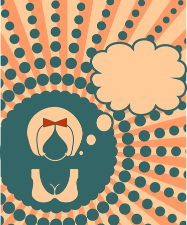 thinking bubble: Banner with female face and thinking bubble. Vintage style
