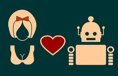 deviant: Human and robot relationships. Robotics industry relative image. Heart icon between robot and woman.
