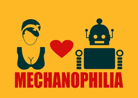 deviant: Human and robot relationships. Robotics industry relative image. Heart icon between robot and woman. Mechanophilia text