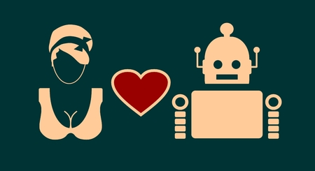 robotics: Human and robot relationships. Robotics industry relative image. Heart icon between robot and woman.