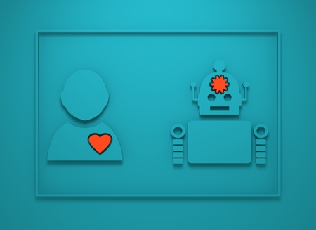 robotics: Human and robotdiversity. Robotics industry relative image. Heart icon inside man silhouette. Gear brain droid. 3D rendering