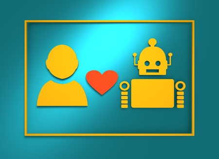 deviant: Human and robot relationships. Robotics industry relative image. Heart icon between robot and man. 3D rendering Stock Photo