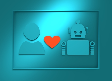 relative: Human and robot relationships. Robotics industry relative image. Heart icon between robot and man. 3D rendering Stock Photo