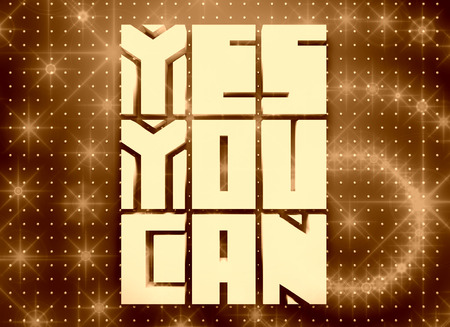 yes you can: Yes you can. Motivation typography quote. Edged letters font. 3D rendering