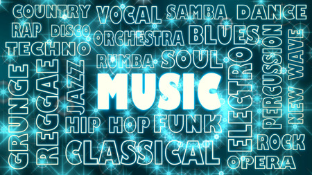 genres: main music genres clouds list. glowing particles backdrop