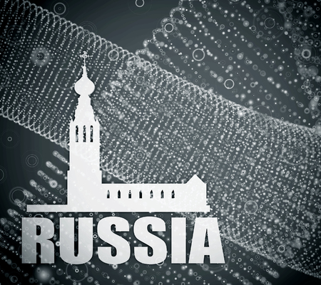 church 3d: Russian orthodox church silhouette. Travel banner background. 3D rendering. Russia word